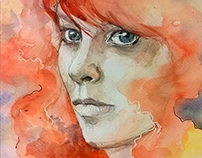 watercolor - Red woman portrait