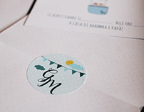 Baby Design - Hot-air balloon birthday invite