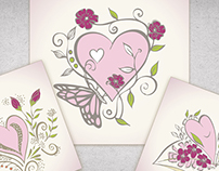 Beautiful Valentine heart vectors for greeting cards