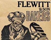 Flewitt & Sons Bakers Poster: linocut and letterpress