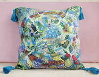 Textile Printing. Pillows and bags