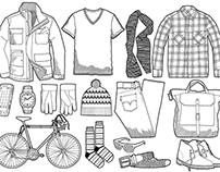 Mens clothing Grid Drawings