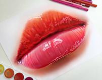 Colored pencil lip study