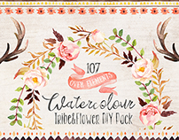 Watercolour tribe&flower DIY pack