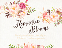 Romantic Blooms Watercolour Clip Art/Rose