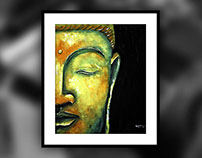 Buddha! poster colors on oil Canvas