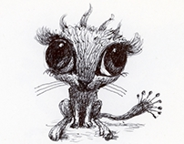 ART Work ::  Tiny big eyed monster drawings