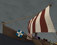 Low Poly Viking Longboat