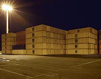 cargo. hamburg harbour nightscapes