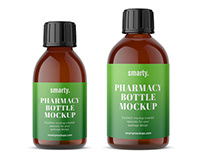 Pharmacy glass bottle mockups