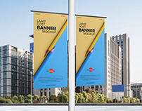 Free Lamp Post Banners Mockup