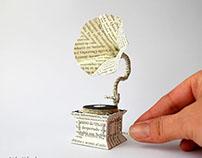 Miniature Book Paper Gramophone