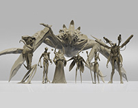 Creature Pack. Clay render