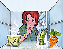 """What's in the Fridge"" character designs"