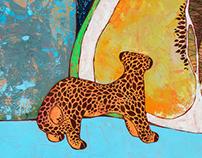 Jaguar gazing at pomelo