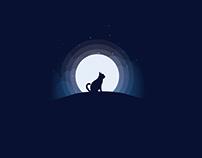 Cat Moonlight Illustration