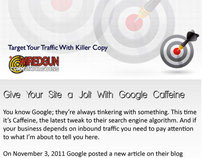 Inbox Marketing Magazine promoting Google Caffeine