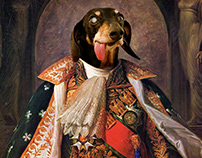 Neoclassical Dog Portrait Compositing