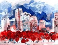 Traveling in the USA: Watercolors