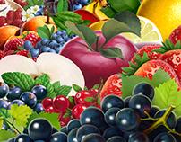 Series of fruit illustrations for pack