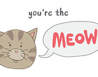 Cat's Meow lettering illustration greeting card