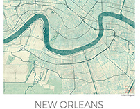 New Orleans, US. Blue vintage watercolor