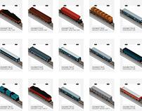 Railway car, waggon isometric set