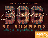 FREE Grunge Painted Wood 3D Numbers