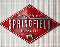 Springfield Butchers branding, signage and interior.