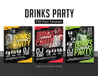 Free Drinks Party PSD Flyer Template