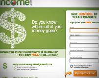 Landing page design - Income.com
