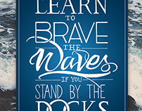 Brave the Waves // Hand-lettered t-shirt design