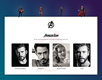 Avengers Team Page Concept