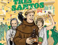 Três Santos . Label for Dois Corvos craft beer