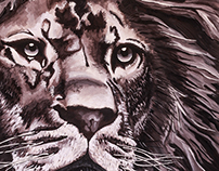 Solitary Lion - Painting