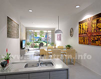 Beautifully Designed 3D Bold White Kitchen CGI