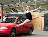 Ballet dancers and wrecked cars