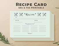 Free Recipe Card Printable Template V7