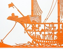 "Paper-cut ""Flying Dutchmen"""
