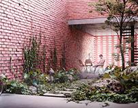 Serenity of a Rainy Courtyard
