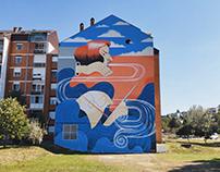 "A mural ""Bora"" in Vukovar, Croatia"