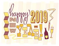 Greeting Card Design: New Year 2019.