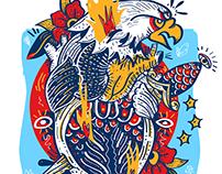 Eagle on fire