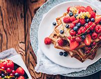 Amaranth & chestnut waffles