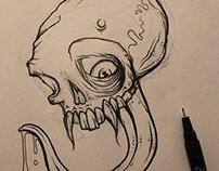 Tongue Skull Ink Sketch
