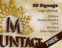 FREE STUFF - 3D Signage Logo Mockup