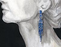 Sapphire Droplet Earring Rendering 1