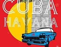 Welcome to cuba havana graphic design vector art