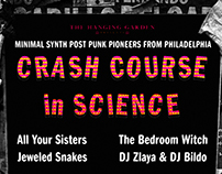 Poster promoting gig for Crash Course in Science