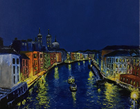 Palette Knife Acrylic Painting - Venice